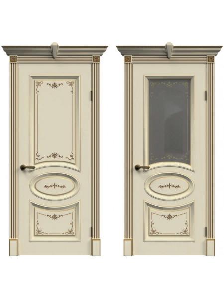 Ульяновская дверь А-33 эмаль слоновая кость патина золото