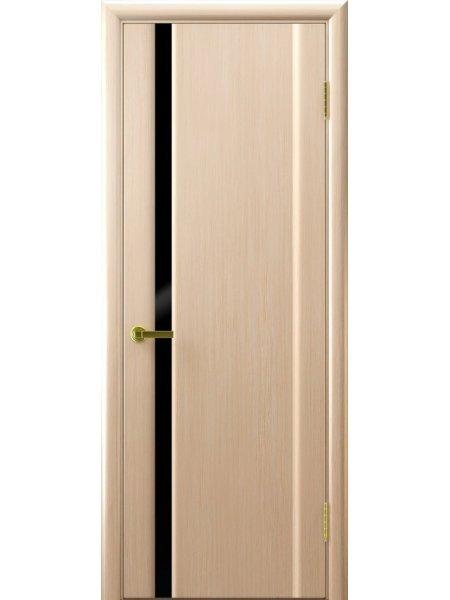 Ульяновская дверь с узким вертикальным триплексом Синай 1 беленый дуб черный триплекс