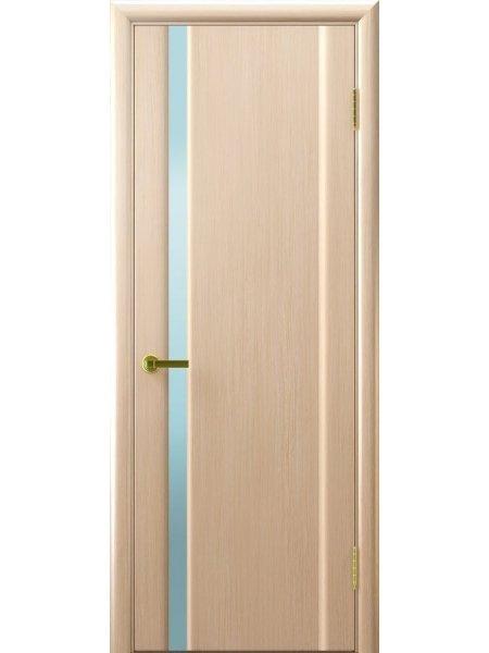 Ульяновская дверь с узким вертикальным триплексом Синай 1 беленый дуб