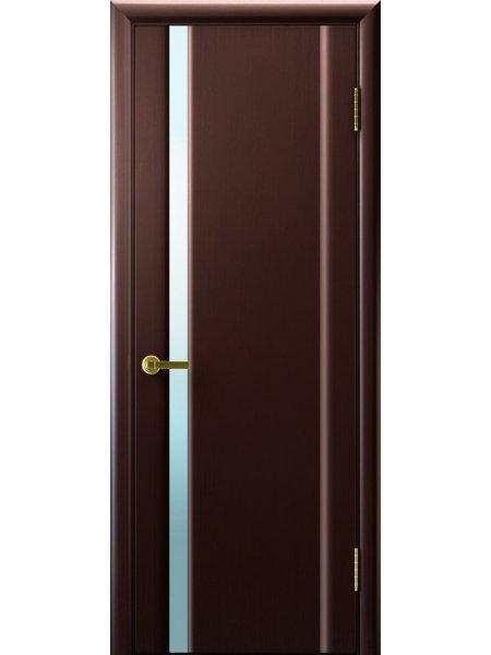 Ульяновская дверь с узким вертикальным триплексом Синай 1 венге