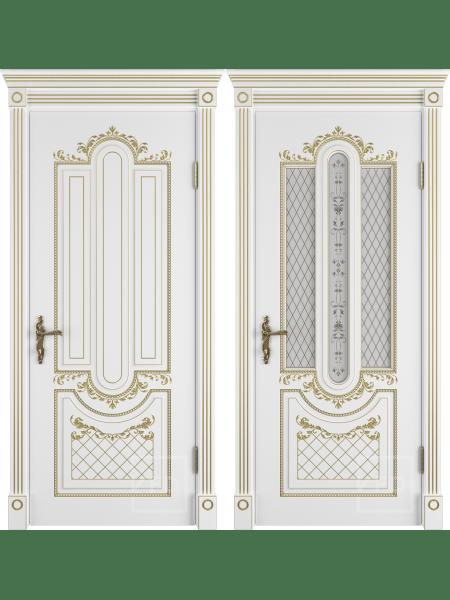Александрия 3D (70) белая эмаль патина золото