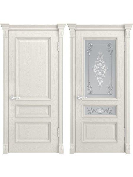 Ульяновская белая дверь в шпоне Гера-2 дуб RAL9010