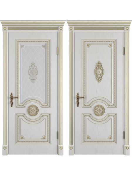 Greta Bianco Classic PG классического стиля двери в экошпоне с патиной