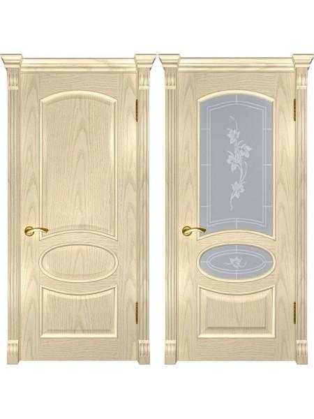 Межкомнатная дверь цвета слоновая кость с текстурой древесины Грация