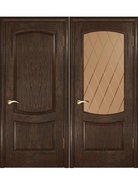 Межкомнатная дверь в натуральном шпоне Лаура 2 мореный дуб