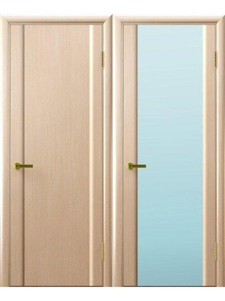 Ульяновская дверь с широким белым триплексом Синай 3 беленый дуб